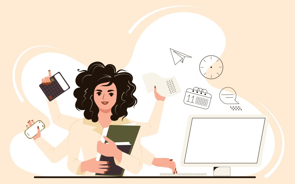 Multitasking,Woman,At,Work,In,The,Office.,Businesswoman,Performs,Many