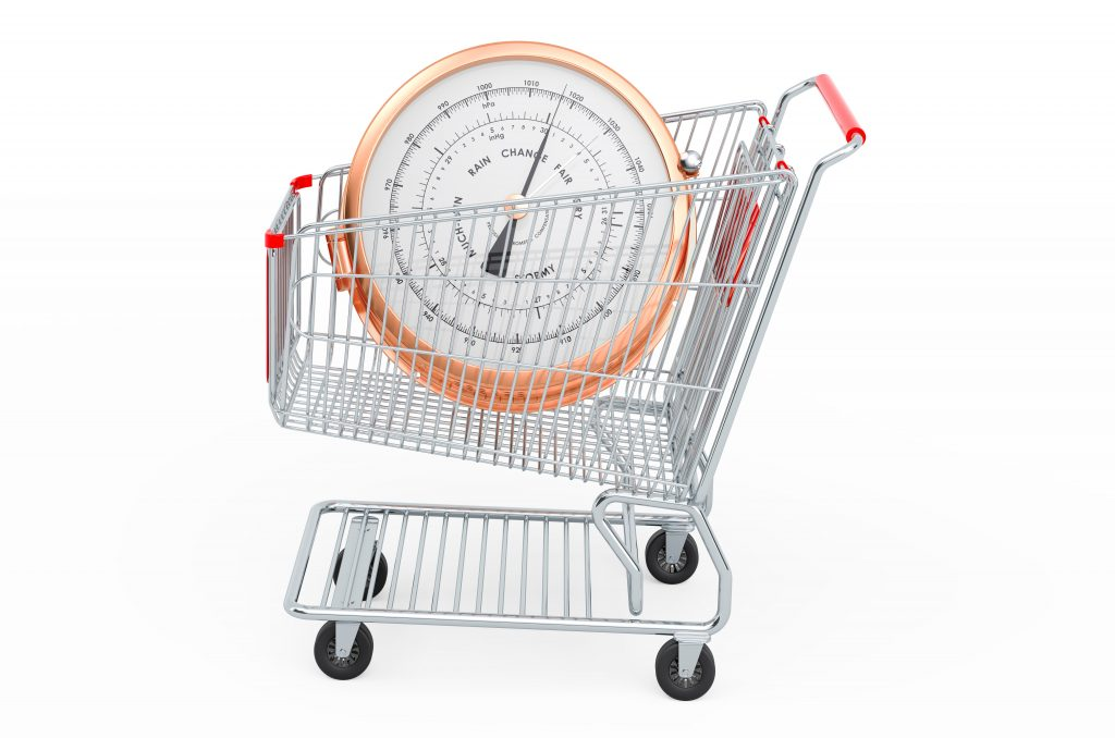 Shopping,Cart,With,Barometer,,3d,Rendering,Isolated,On,White,Background