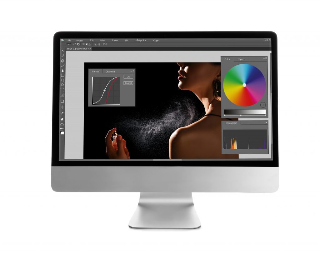 Computer,With,Photo,Editor,Application,Isolated,On,White